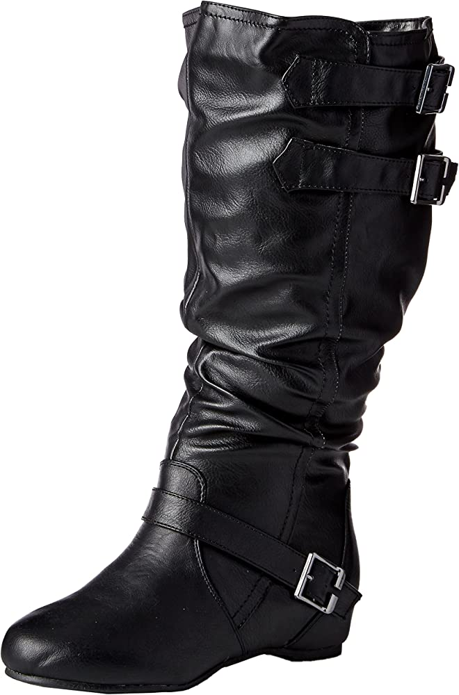 Wide-Calf Buckle Slouch Low-Wedge Boots