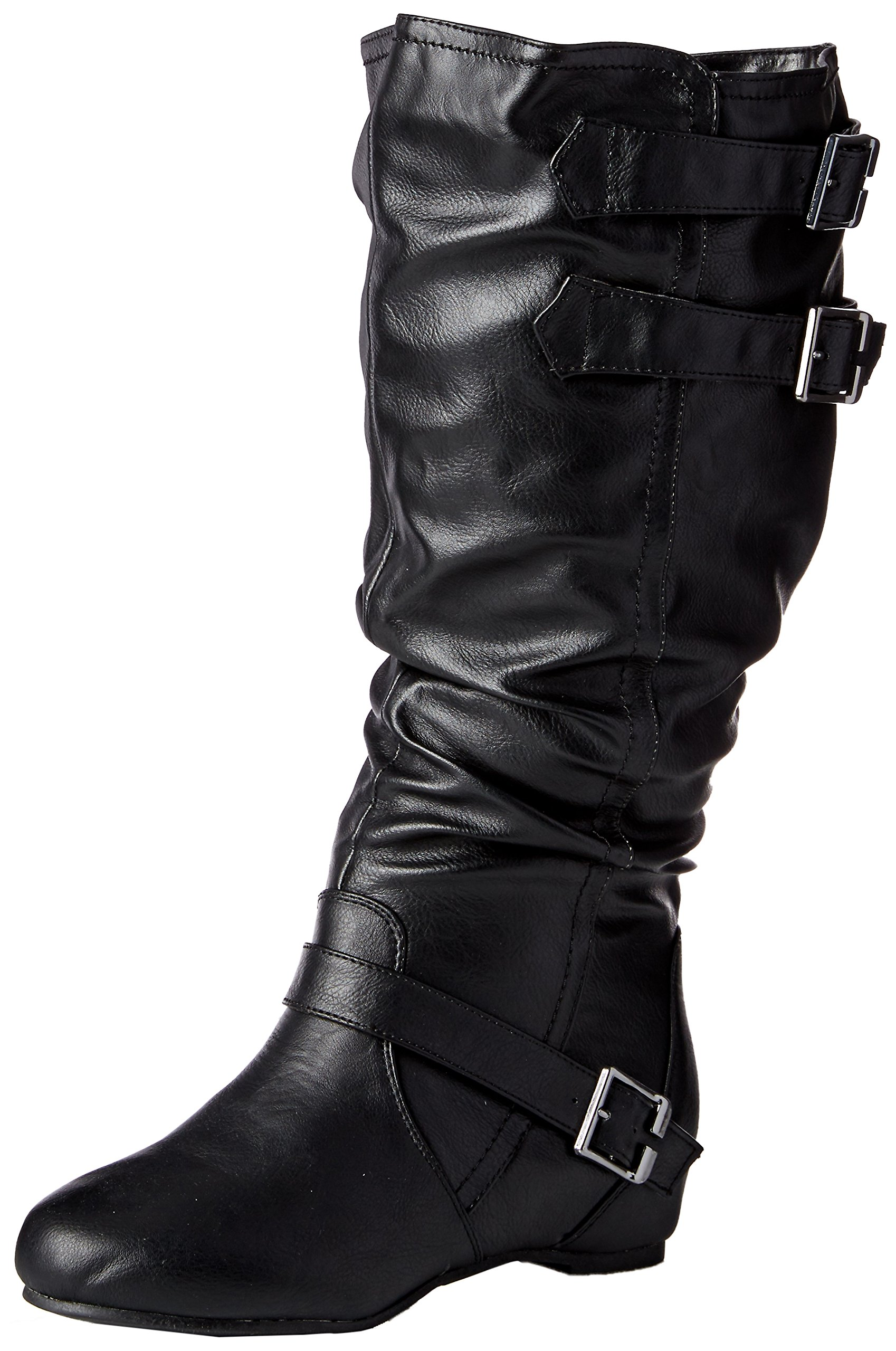 b80921c9c8c Journee Collection Womens Regular Sized and Wide-Calf Buckle Slouch Low- Wedge Boots Black, 10 Wide Calf US