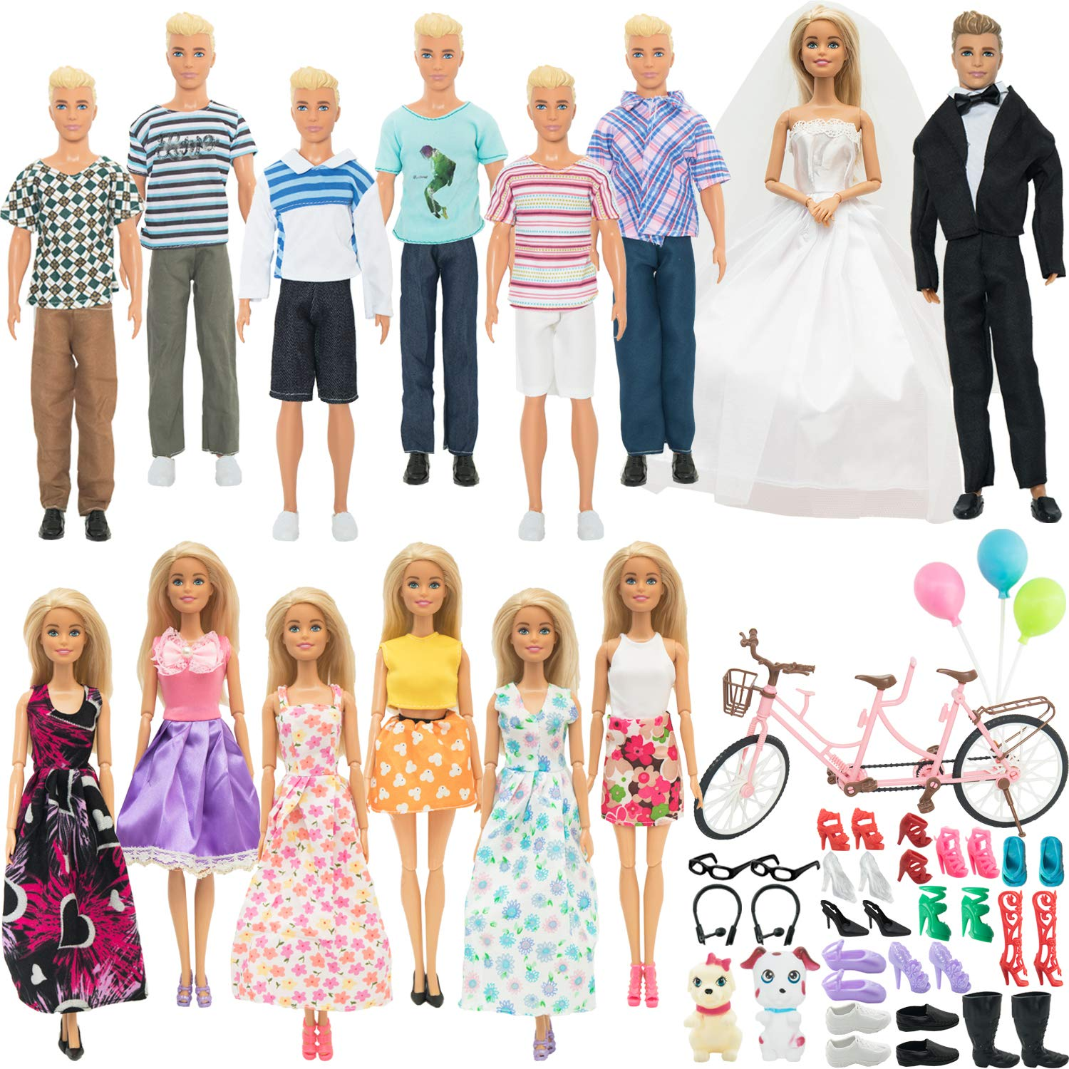 SOTOGO 58 Pieces Doll Clothes and Accessories for Barbie Ken Dolls Lovers Life Playset Include 14 Set Handmade Doll Groom Suit,Wedding Dress,Casual Clothes with 34 Pieces Different Doll Accessories