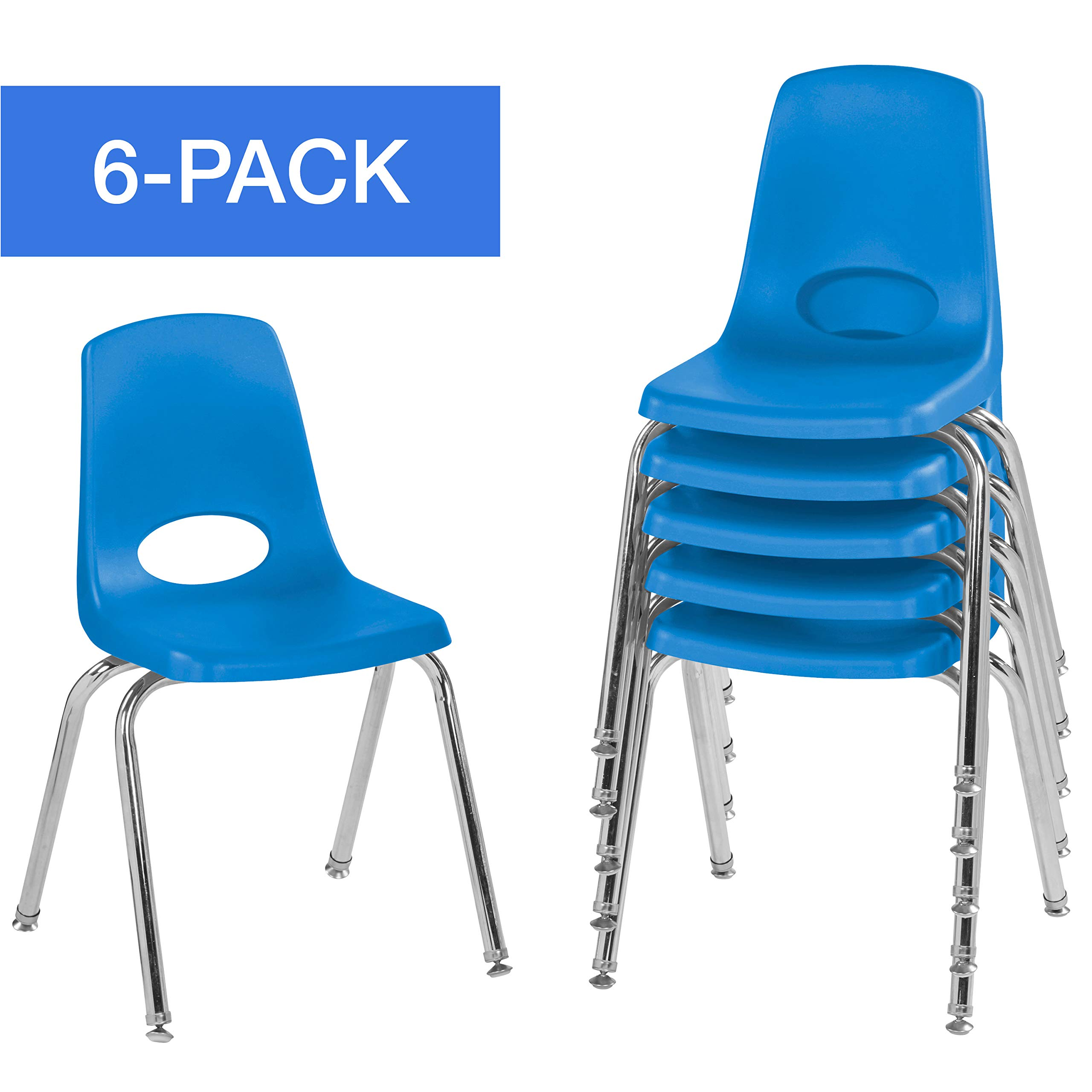 16'' School Stack Chair,Stacking Student Chairs with Chromed Steel Legs and Nylon Swivel Glides - Blue (6-Pack)