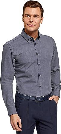oodji Ultra Hombre Camisa Slim con Cuello Doble, Azul, 39: Amazon.es: Ropa y accesorios