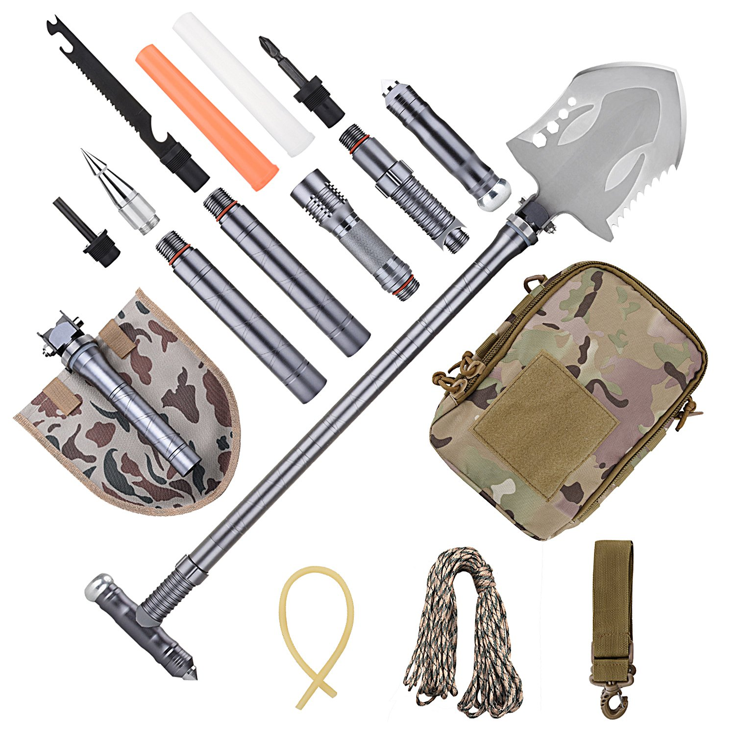 ANZESER New Outdoor Military Survival Folding Shovel with Flashlight - Multifunctional Portable Military Kit for Camping Hiking Outdoor Advent, Compact Emergency Kit,Heavy Duty Survival Gear by ANZESER