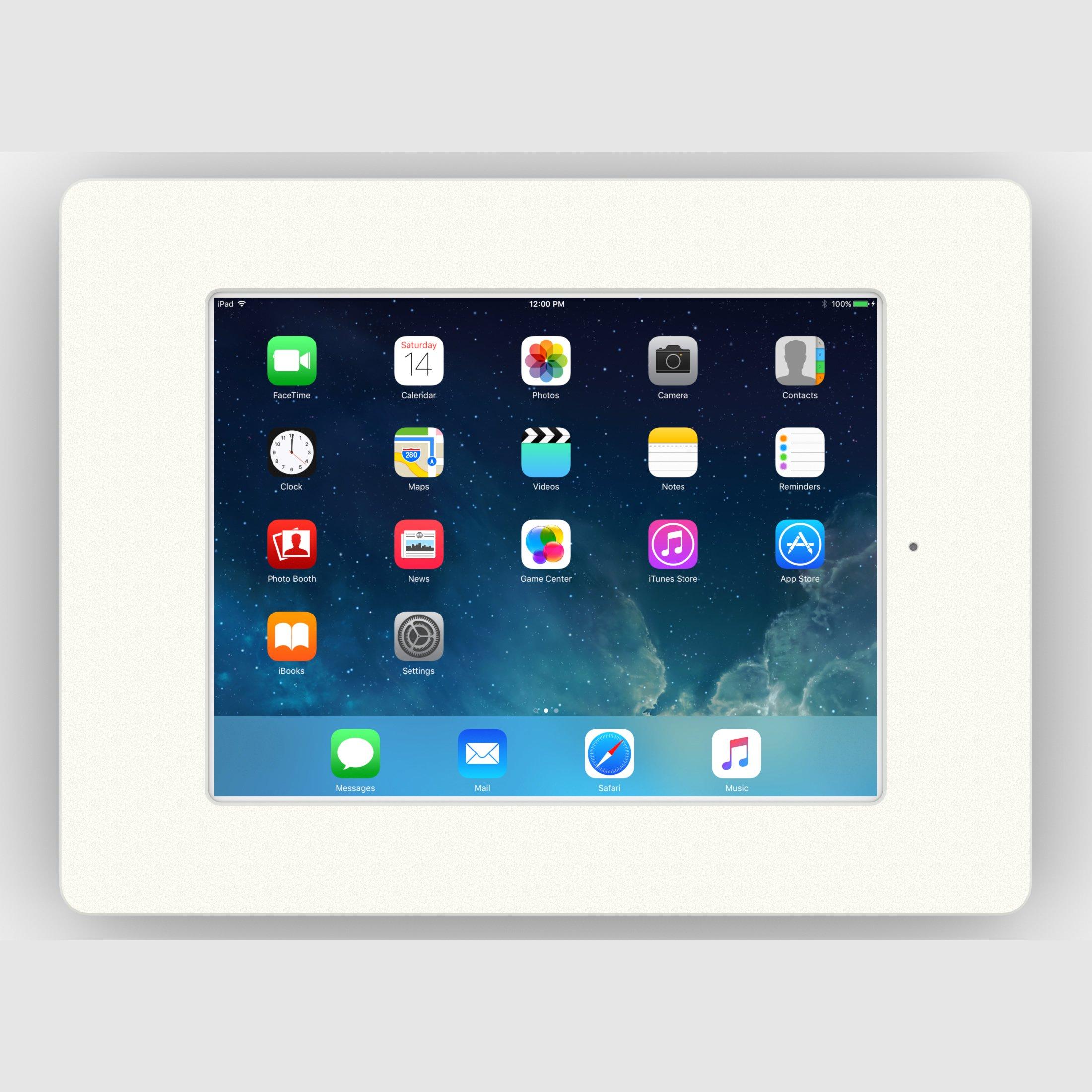 iPad (5th Gen) 9.7/Pro, Air 1/2 White Home Button Covered Fixed Slim VESA Wall Mount [Bundle] by VidaBox Kiosks (Image #2)