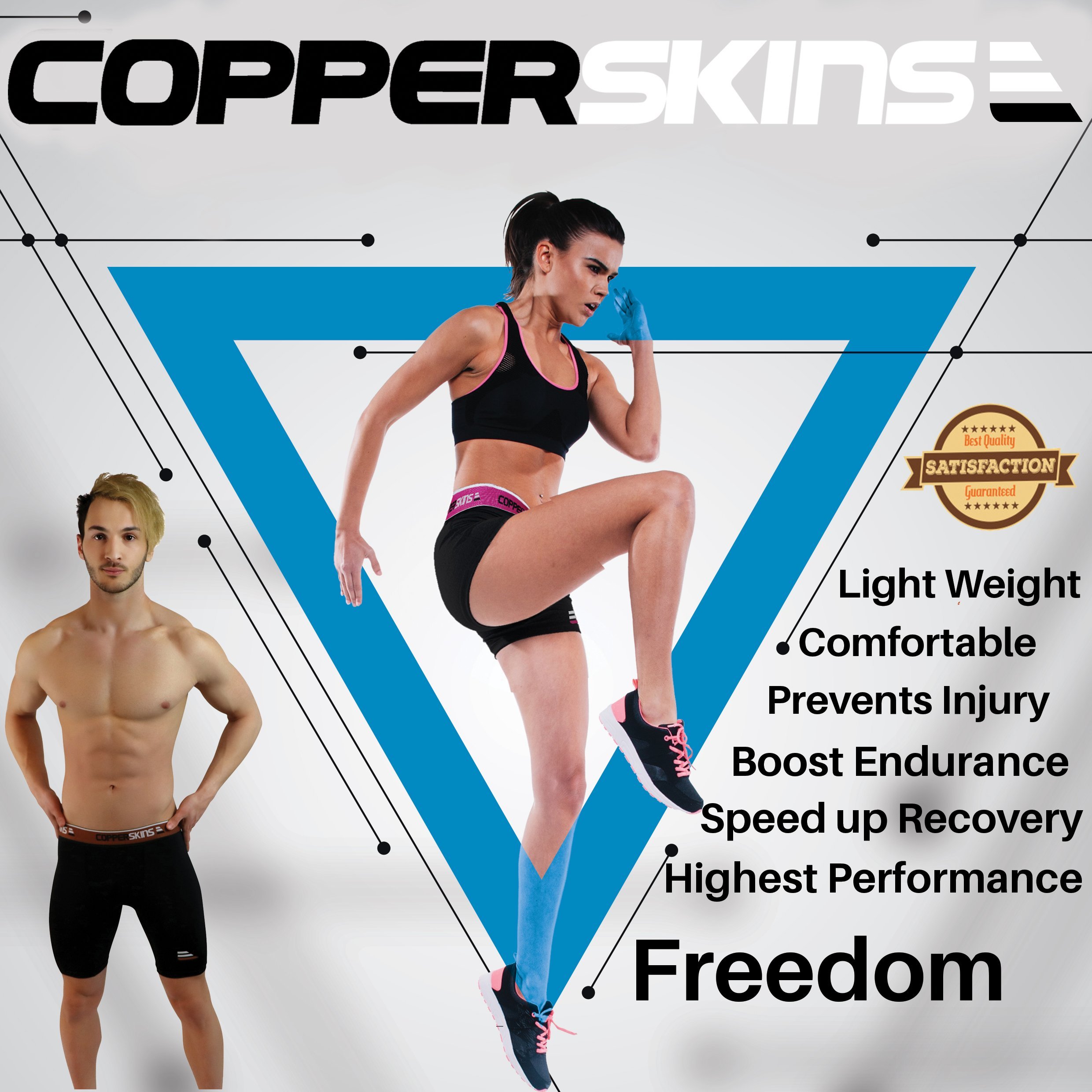 Copper Compression Shorts for Women - 3'' Black Spandex - Base Layer (X Large) by Copperskins (Image #6)