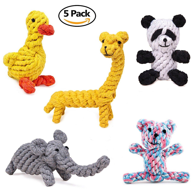 Giocattoli di corda del cotone di masticazione del cane, addestramento durevole del giocattolo della corda di cotone di 5 pacchetti Giocattoli di mordace del cane di piccola / media dimensione di salute che puliscono insieme del regalo di pulizia