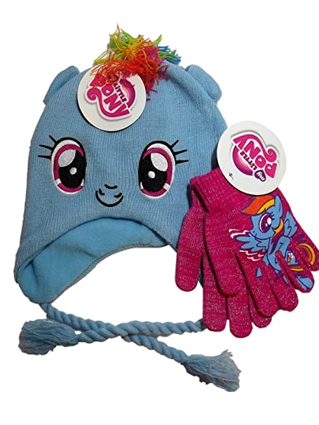e92edbd341e My Little Pony Blue Rainbow Dash Knit Peruvian Laplander Hat Pink Sparkle Gloves  Set  Amazon.ca  Clothing   Accessories