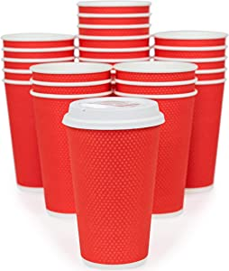 Glowcoast Disposable Coffee Cups With Lids - 16 oz To Go Coffee Cup With Lid (70 Set). Large Togo Travel Paper Hot Cups Insulated For Hot and Cold Beverage Drinks, No Sleeves Needed (Poppy)