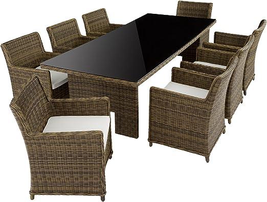 TecTake de lujo aluminio ratán Jardín Essgruppe inoxidable | 8 sillas + mesa con tablero de cristal (255 x 109 cm), color marrón: Amazon.es: Jardín
