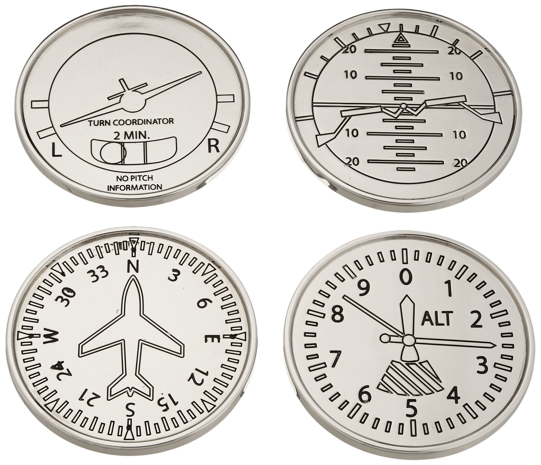 GODINGER SILVER ART Airplane Coasters, Set of 4 by Godinger