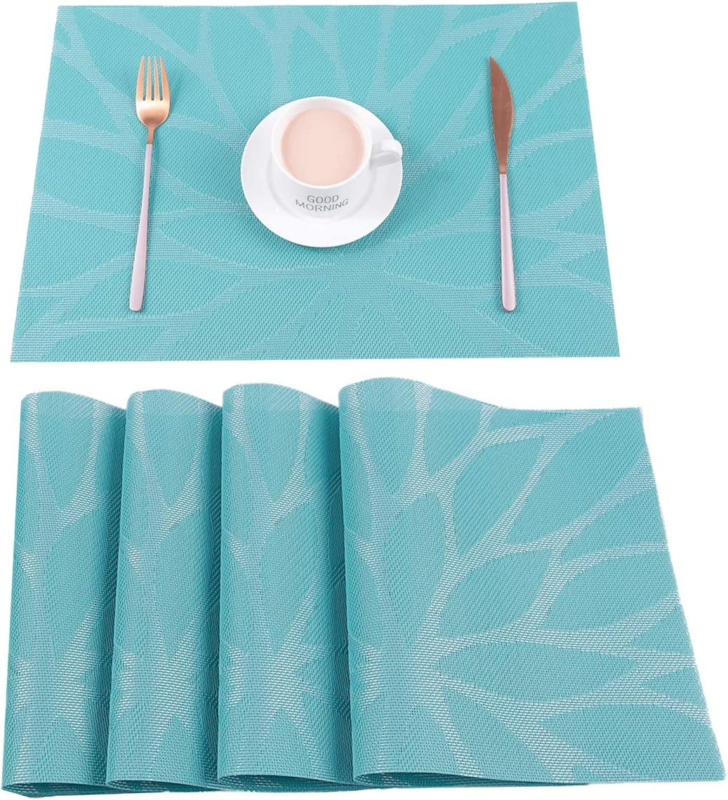 Hebe Placemats Set Of 4 Heat Resistant Placemat For Dining Table Indoor Outdoor Washable Crossweave Woven Vinyl Kitchen Table Mats For Christmas Holiday 4 Blue Home Kitchen