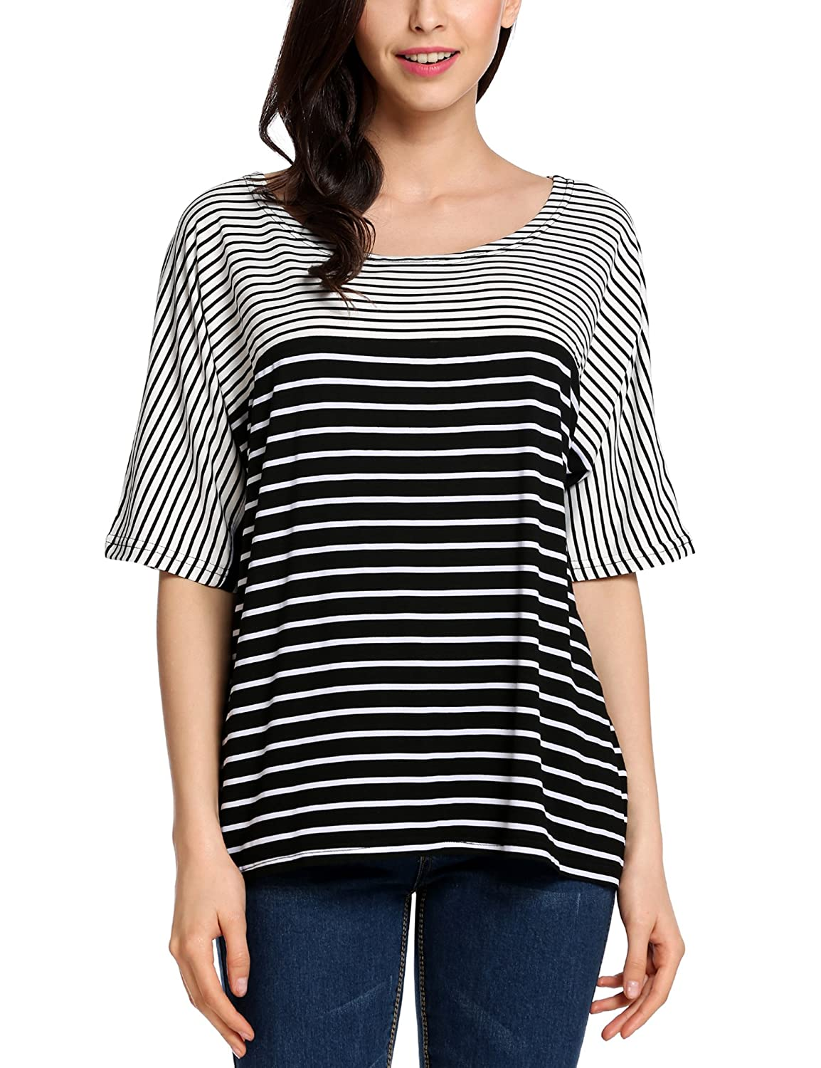 Meaneor Women Summer Striped CasualTops Blouse Batwing Sleeve Comfy Loose T-Shirts