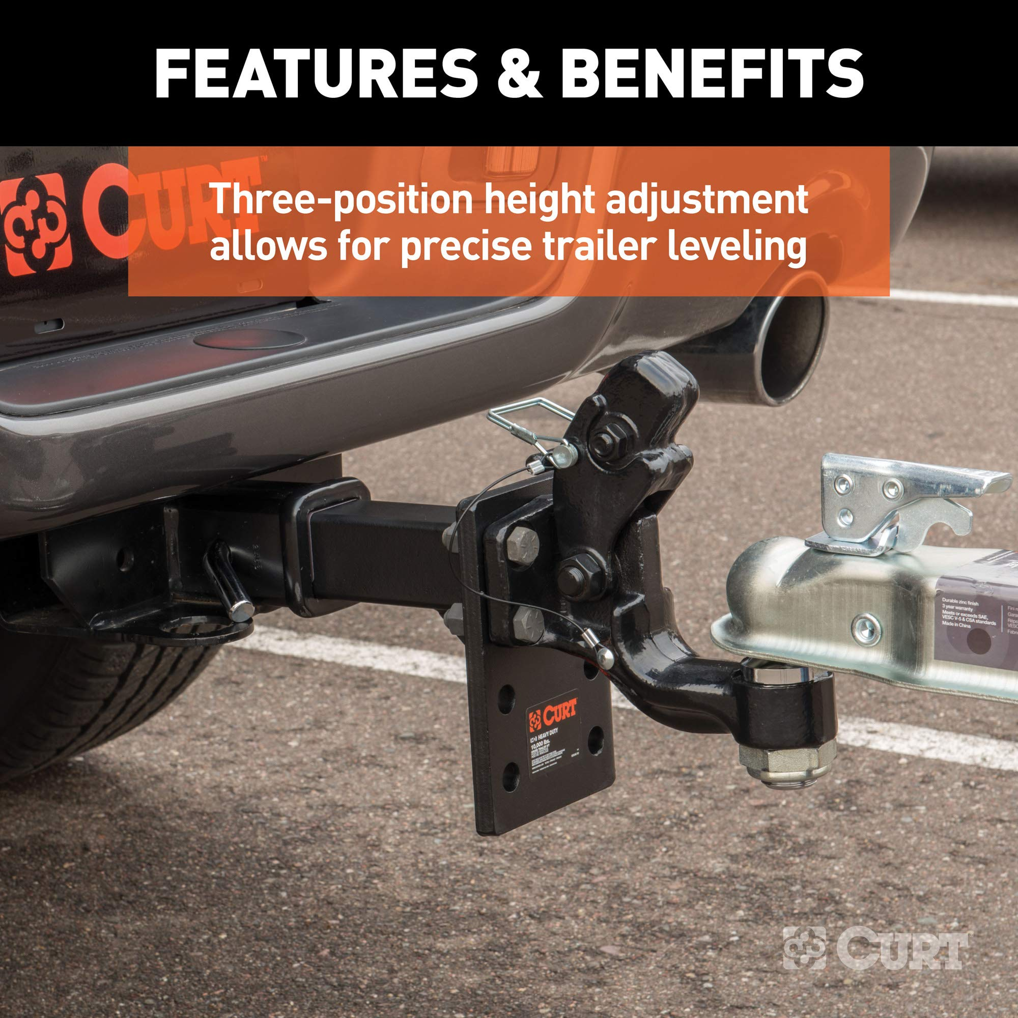 6-Inch Shank Length CURT 48343 Adjustable Pintle Hitch Mount 17,000 lbs 7-1//4-Inch Plate Height Fits 2-Inch Receiver GTW