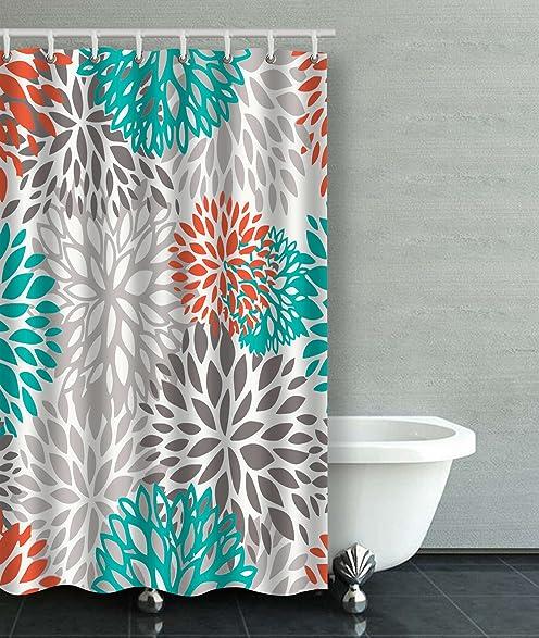 orange and gray shower curtain. Accrocn Waterproof Shower Curtain Curtains Fabric Orange Gray And Turquoise  White Dahlia 36x72 Inches Decorative Bathroom Amazon Com