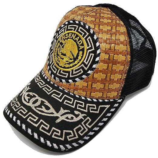 679757f7 Mexico Straw Hat Cap Metallic Baseball Ensanada Eagle Trucker (Ensenada  Black v2) at Amazon Men's Clothing store: