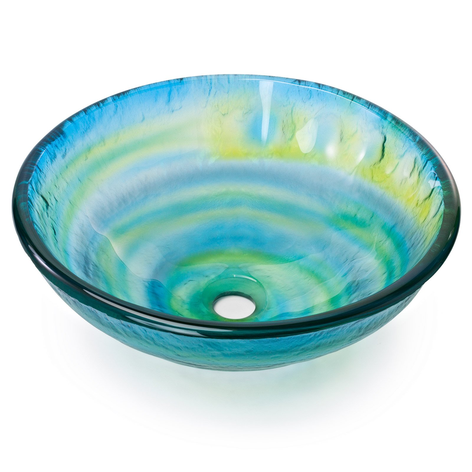 Miligoré Modern Glass Vessel Sink - Above Counter Bathroom Vanity Basin Bowl - Round Blue & Green