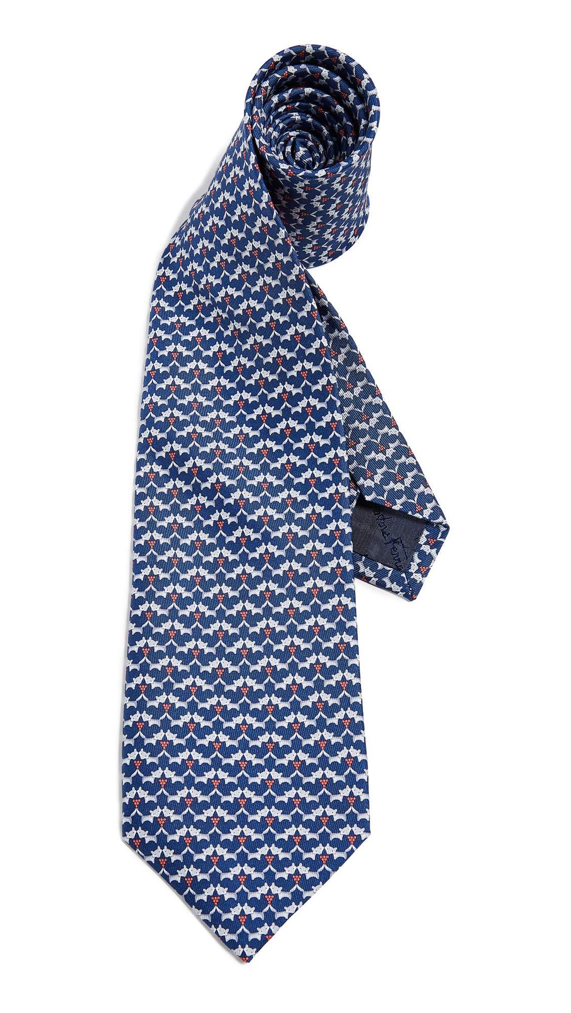Salvatore Ferragamo Men's Fox Tie, Navy, Blue, Print, One Size