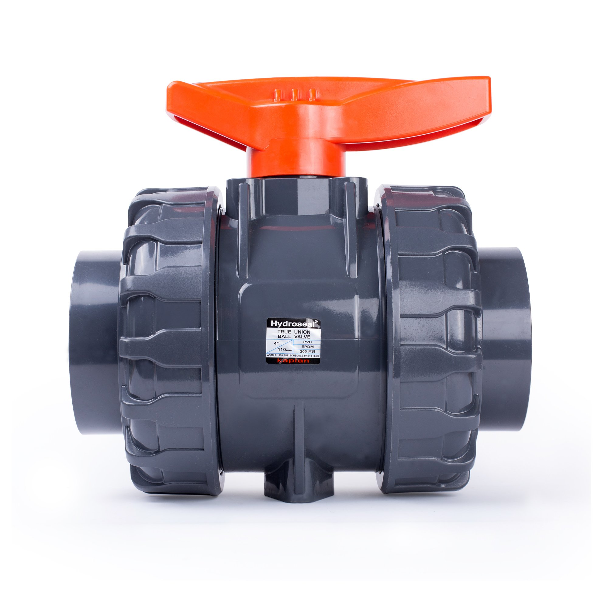 HYDROSEAL Kaplan 4'' PVC True Union Ball Valve with Full Port, ASTM F1970, EPDM O-Rings and Reversible PTFE Seats, Rated at 200 PSI @73F, Gray, 4 inch Socket (4'')