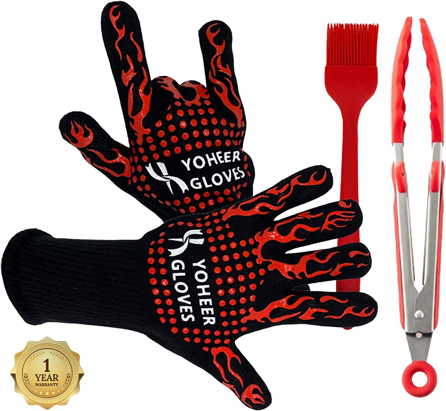 ENTIRE BBQ Grill Gloves Extreme Heat Resistant, Insulated, Fireproof Oven Mitts. Made of Aramid and Silicone for Cooking, Grilling, Baking, Barbecue and More - Bonus Silicone Brush & BBQ Grilling Tong