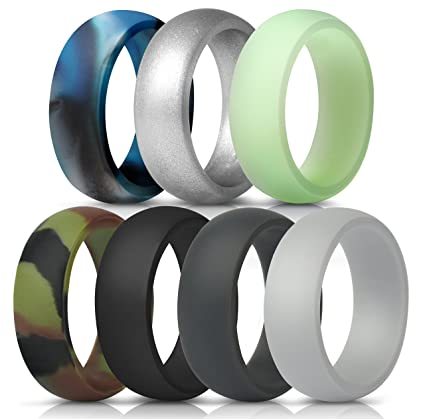 Amazon Com Thunderfit Silicone Rings 7 Pack Wedding Bands For Men