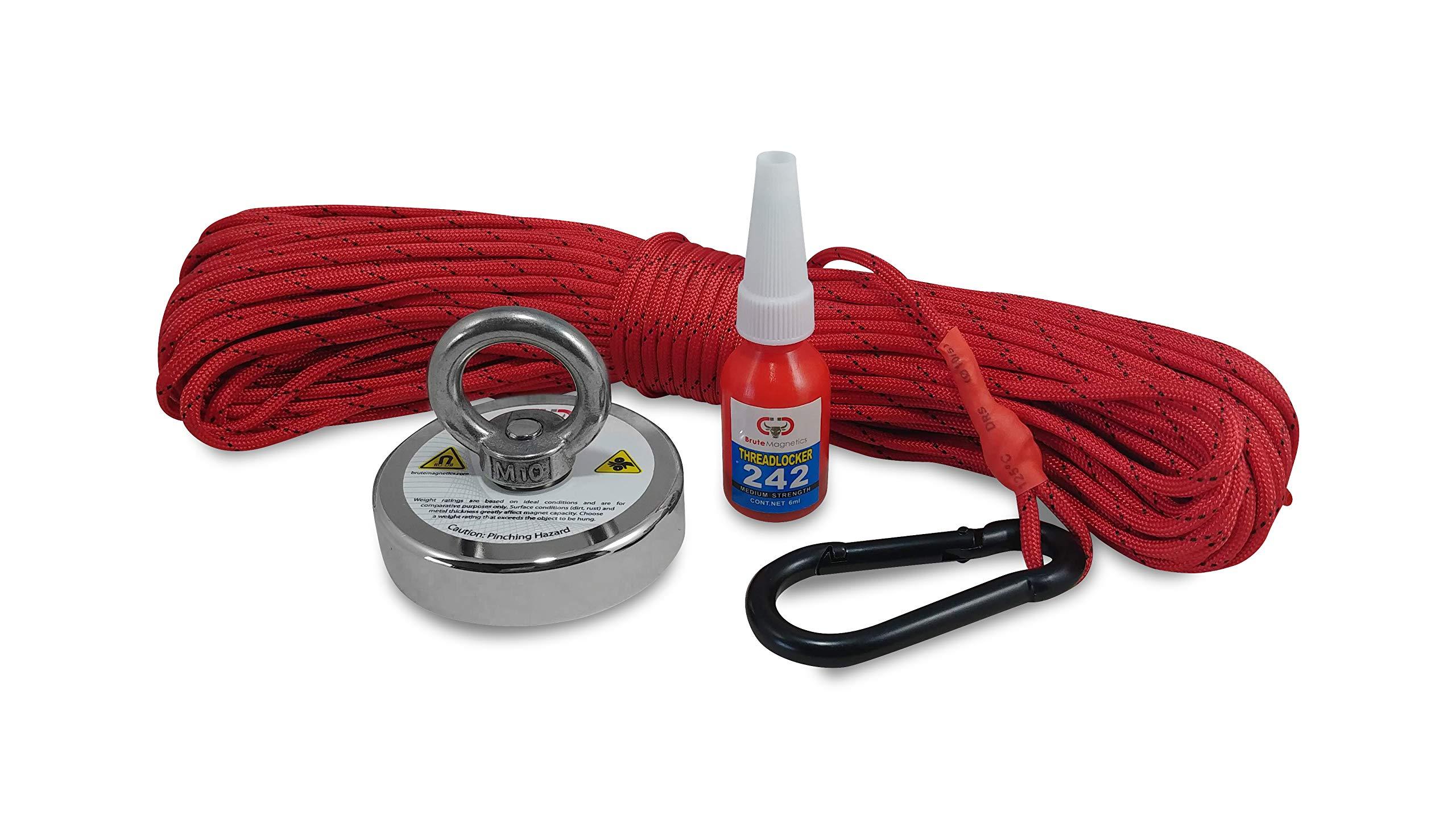 575 LBS Magnet Fishing Bundle - Brute Magnetics Round Neodymium Fishing Magnet, 2.95'' Magnet + 100 feet Rope with Carabiner + threadlocker