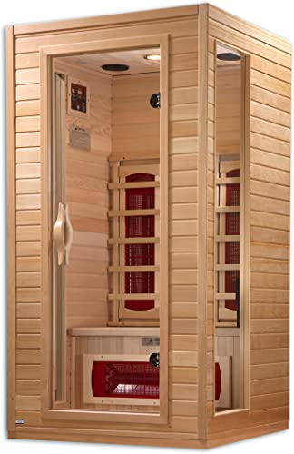 3-Person Hemlock Corner Infrared Sauna w 7 Carbon Heaters
