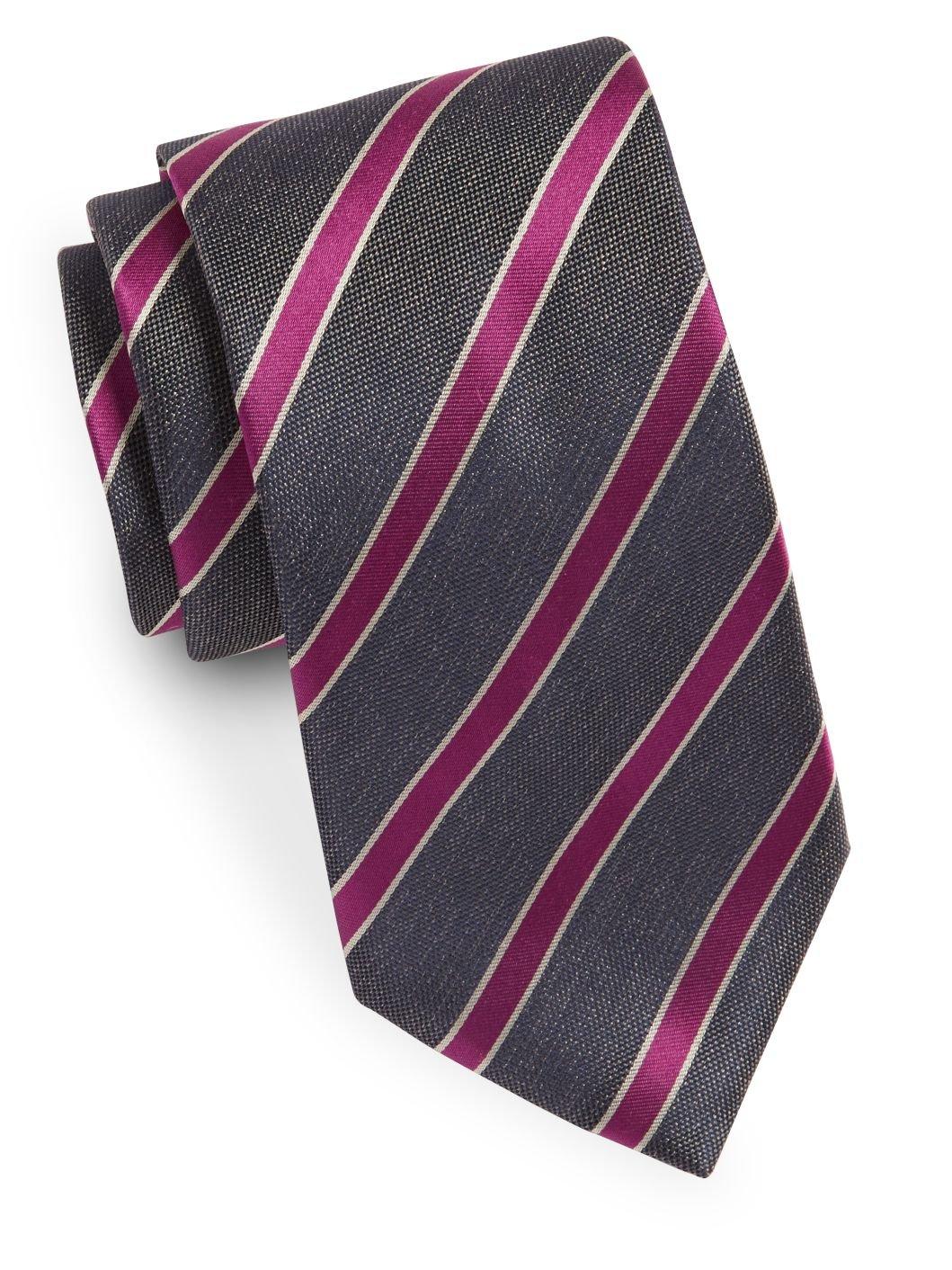 Yves Saint Laurent Men's Textured Stripe Silk Tie, OS, Grey
