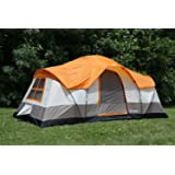 Tahoe Gear Olympia 10 Person Three Season Family Camping Tent - Orange/Ivory