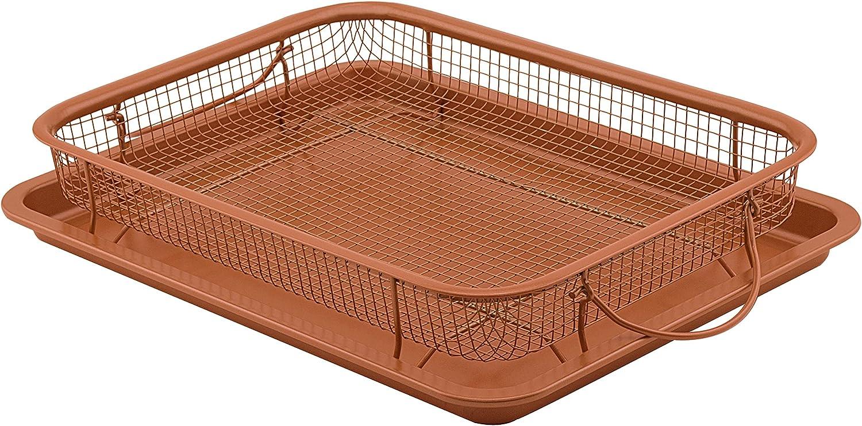 G & S Metal Products Company Nonstick Oven Crisper Basket with Pan, 13.9 x 9.9, Copper, 9037-AZ