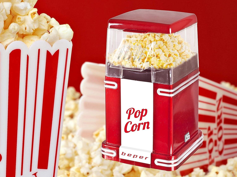 Beper 90.590 Pop Corn Retro Máquina para hacer palomitas 1200 W, Blanco y rojo.: Amazon.es: Hogar