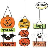 Resinta Halloween Trick or Treat Hanging Sign Decoration Happy Halloween Board Sign Door Wall Hanging Decoration for Halloween Party