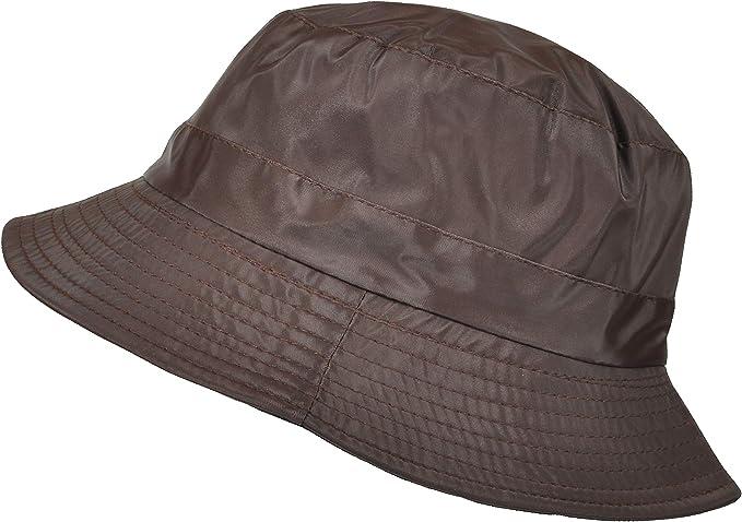 Wax Rain Bush Hat Showerproof Bucket Country Outdoors Cap 3 Colours 4 Sizes