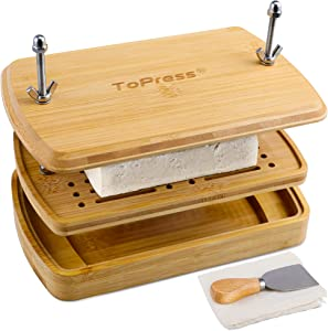 Tofu Press Bamboo, Tofu Presser, Easily Remove Water from Tofu for Better Texture & Flavor, Built in with Water Strainer & Drip Tray, Flax Cloth Filter & Shovel & Tofu Recipes, BPA Free, Eco Friendly