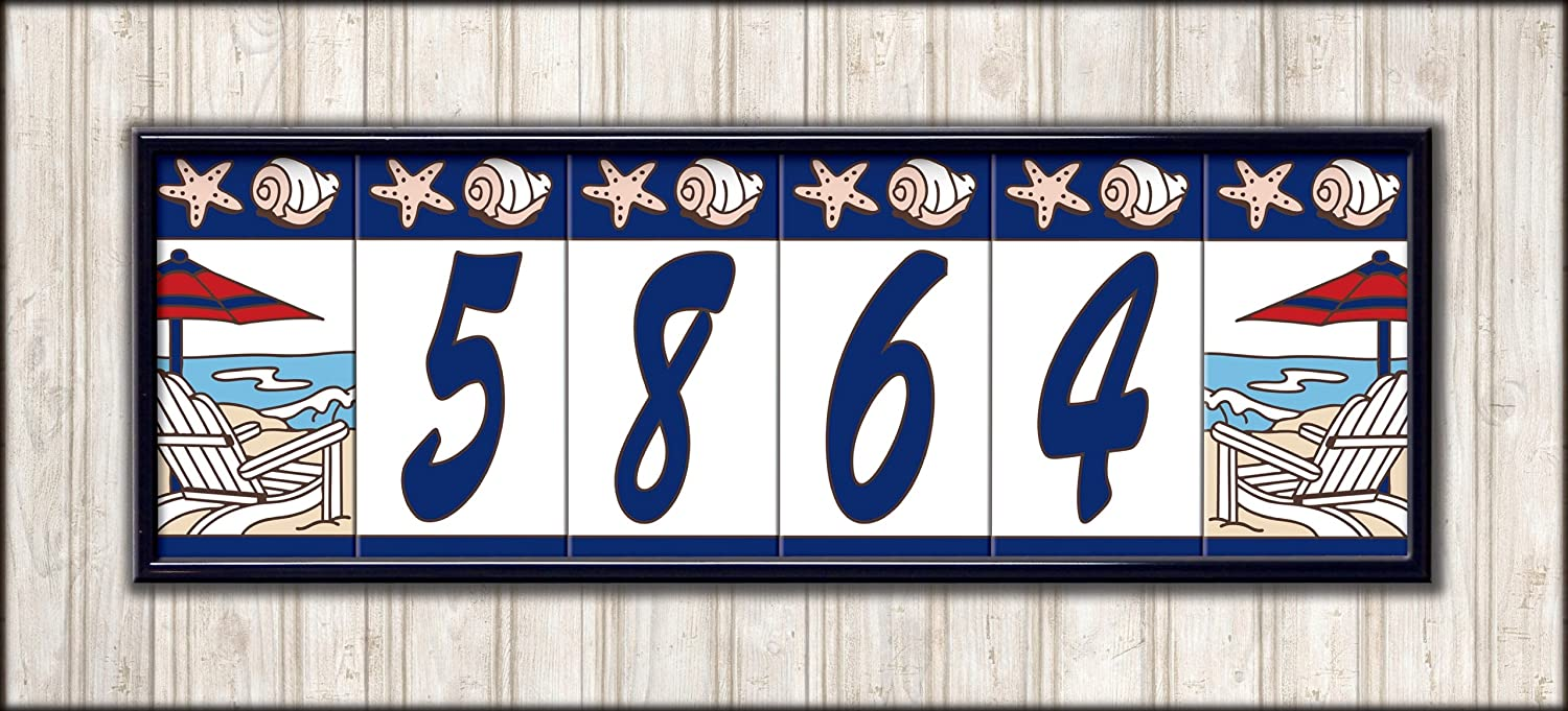 Amazon two 3 x 6 ceramic tile address house numbers amazon two 3 x 6 ceramic tile address house numbers nautical sailboat design left and right ends address plaques garden outdoor dailygadgetfo Choice Image