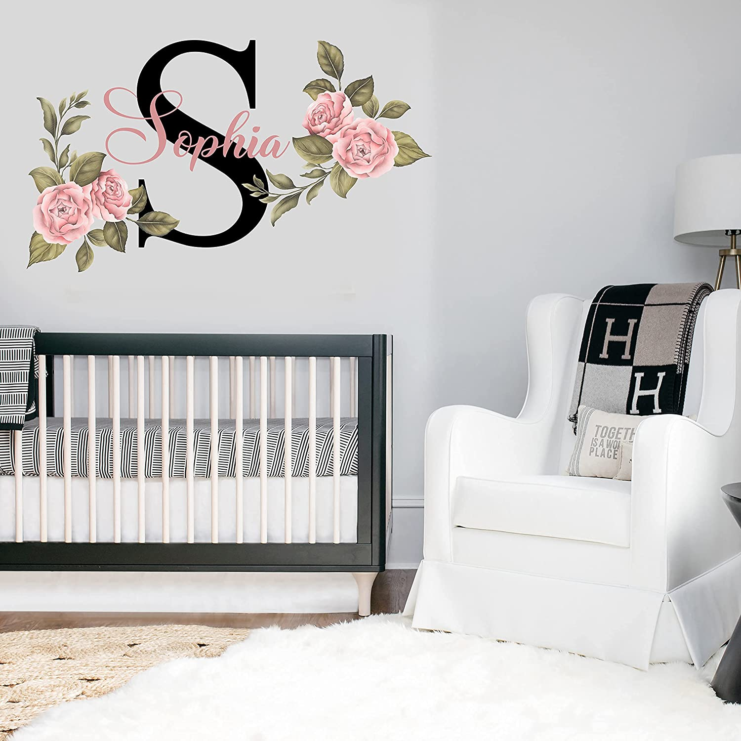 Name and Initial Peonies Wall Decal - Kids Wall Decor - WM33. Custom Name Removable Nursery Wall Decal for Girl - Flower Mural Wall Decal for Girls Bedroom