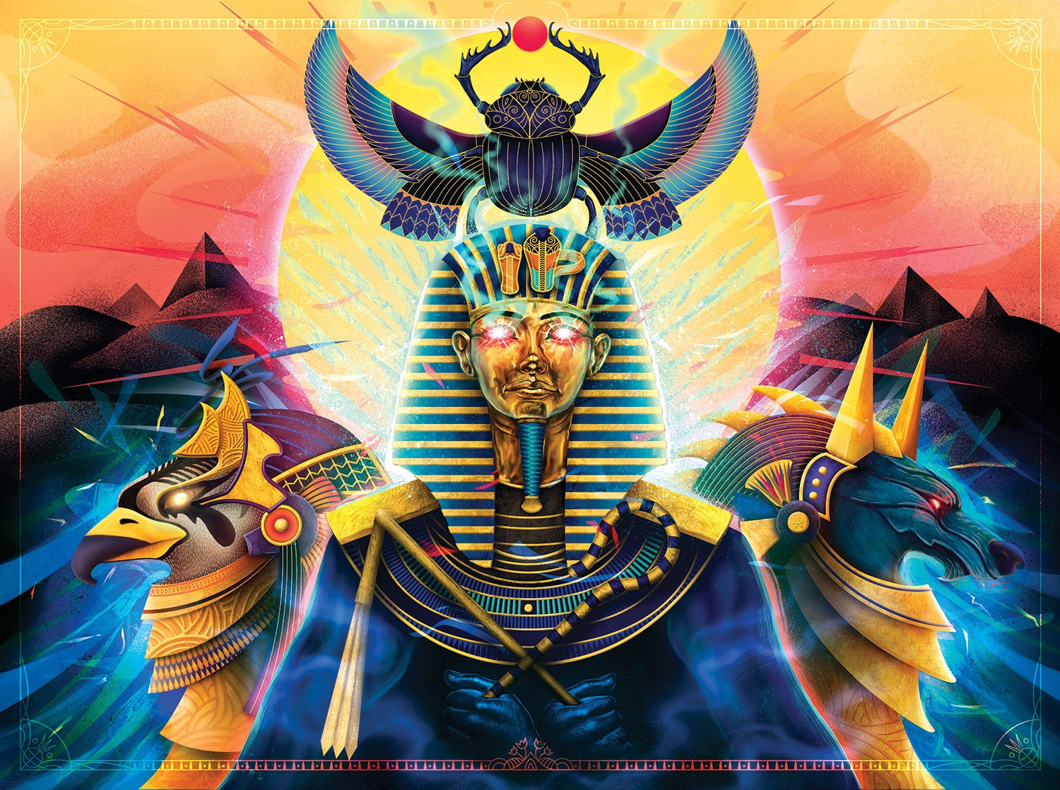 Bone Owl Puzzles Hail to the Pharaoh - 1000 Piece Adult Jigsaw Puzzle by Digital Painting & Art by Ladislas Chachignot | Cool & Colorful Egyptian Mythology & Fantasy