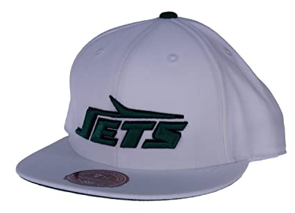 4ae04b9dd68 Image Unavailable. Image not available for. Color: Mitchell & Ness NFL New  York Jets Throwback Logo Fitted Hat ...
