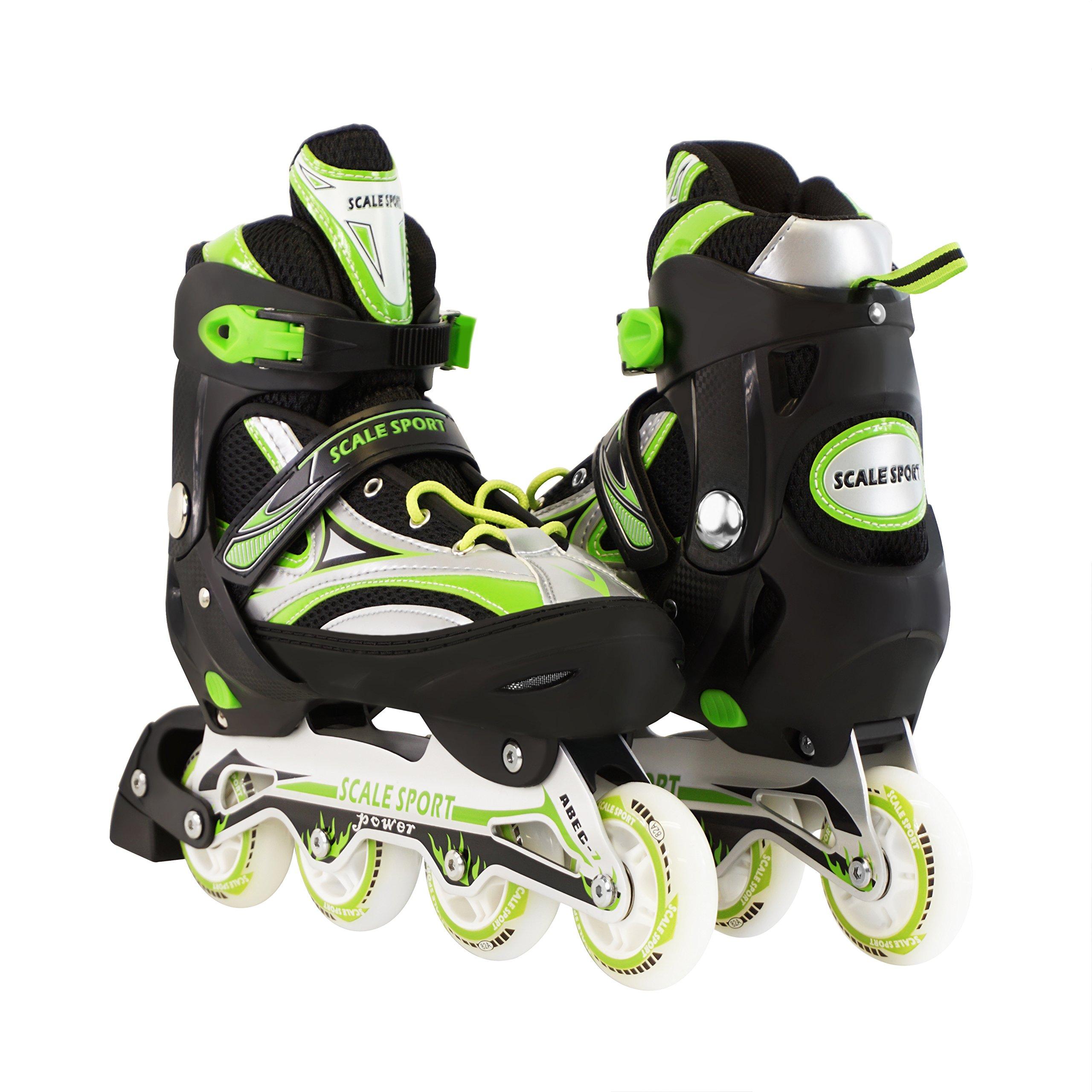 Green Adjustable Inline Skate Size 8-11 US for Men Ladies Teens