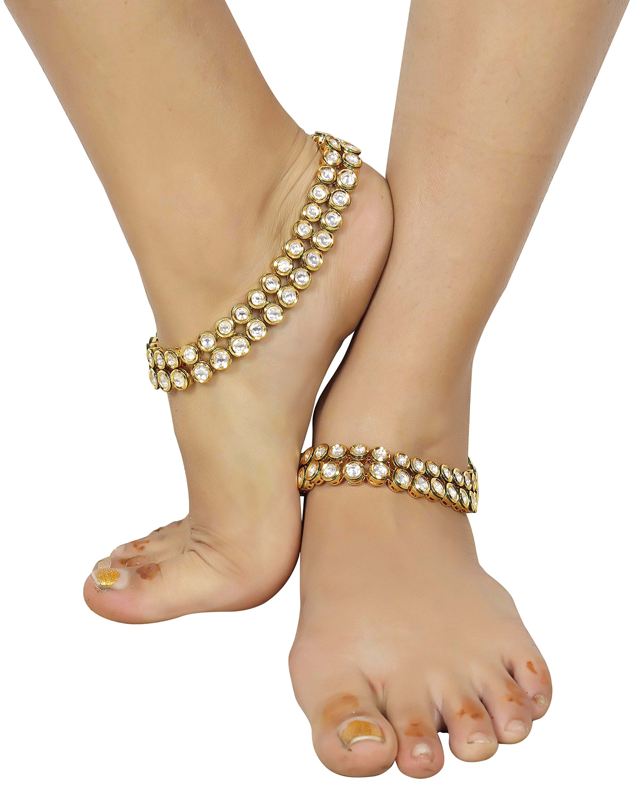 Muchmore Asian Ethnic Traditional Fashion Gold Tone Kundan Stone Anklet Partywear Jewelry by MUCHMORE (Image #4)
