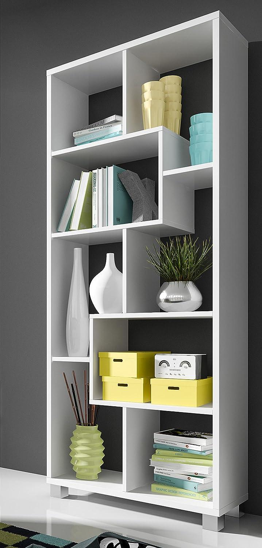 selectionhome estantera librera de diseo comedor saln color blanco mate medidas 685 x 161 x 25 cm de fondo amazones hogar - Estanteria Libreria