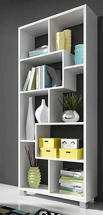 SelectionHome - Estantería librería de diseño Comedor salón, Color Blanco Mate, Medidas: 68,5 x 161 x 25 cm de Fondo