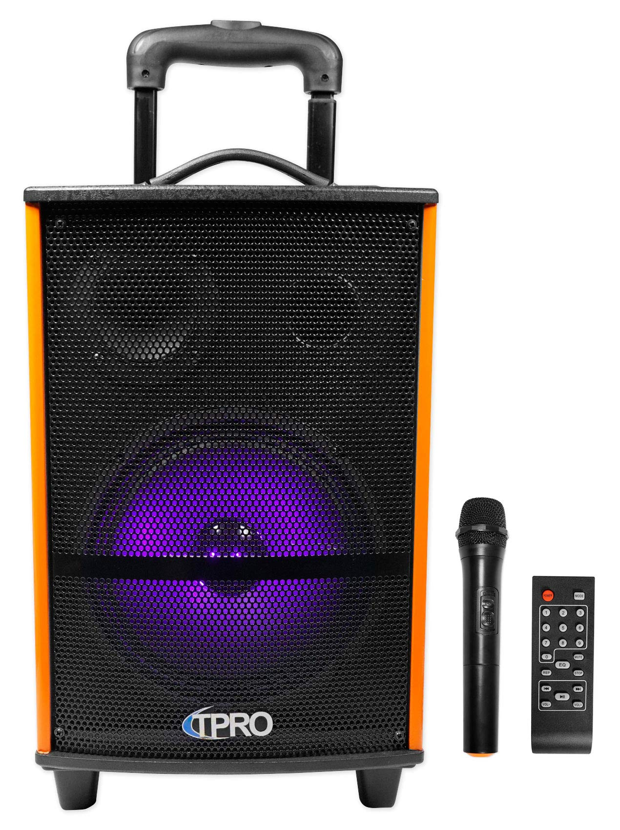 Technical Pro WASP810H Rechargeable Bluetooth Karaoke Machine System with LED's and Mic