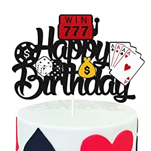 Casino Cake Topper Poker Game Chips Player Themed Happy Birthday Cake Decorations for Kids Boy Girl Birthday Party Supplies Black Glitter Double Sided