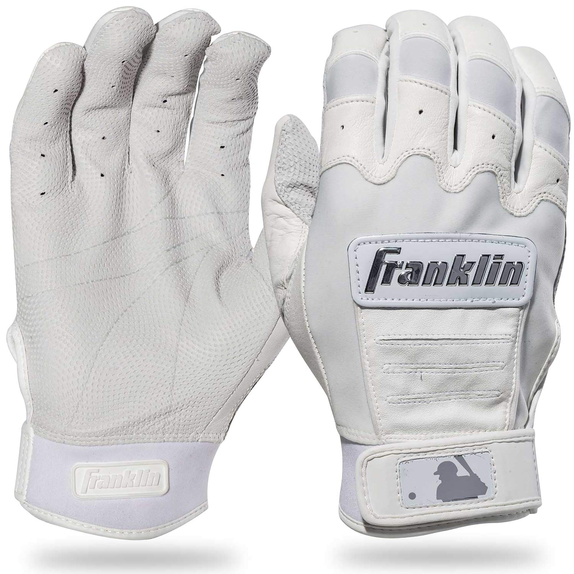 Franklin Sports CFX Pro Full Color Chrome Series Batting Gloves CFX Pro Full Color Chrome Batting Gloves, White, Adult Small
