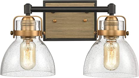 Wildsoul 40062bk 2 Light Bathroom Vanity Light Fixtures Modern Farmhouse Rustic Wood Glass Bath Mirror Lighting Wall Sconce Handblown Dome Clear Seeded Glass Matte Black And Brass Finish 15 Width Amazon Com