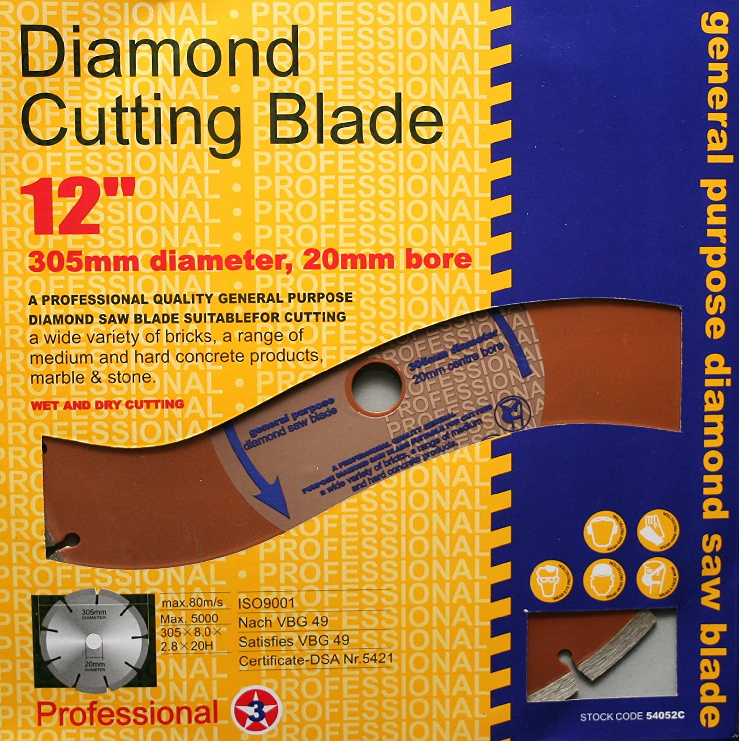 New 305 Mm 20 Mm Bore Professional Universal Diamond Cutting Disc Grinder 12 Inch