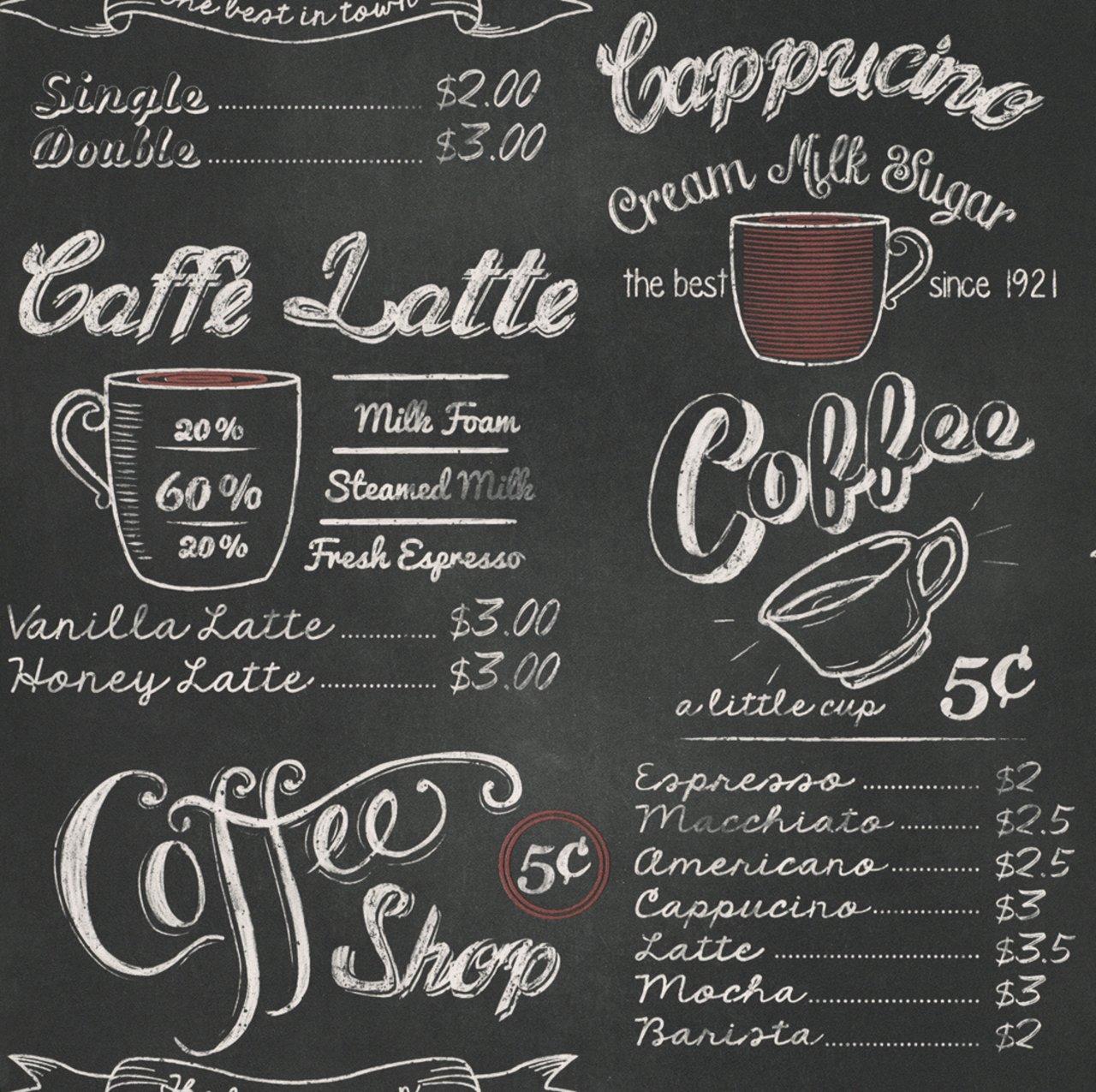 Rasch Café tienda pizarra papel pintado 234602 (1 pieza)