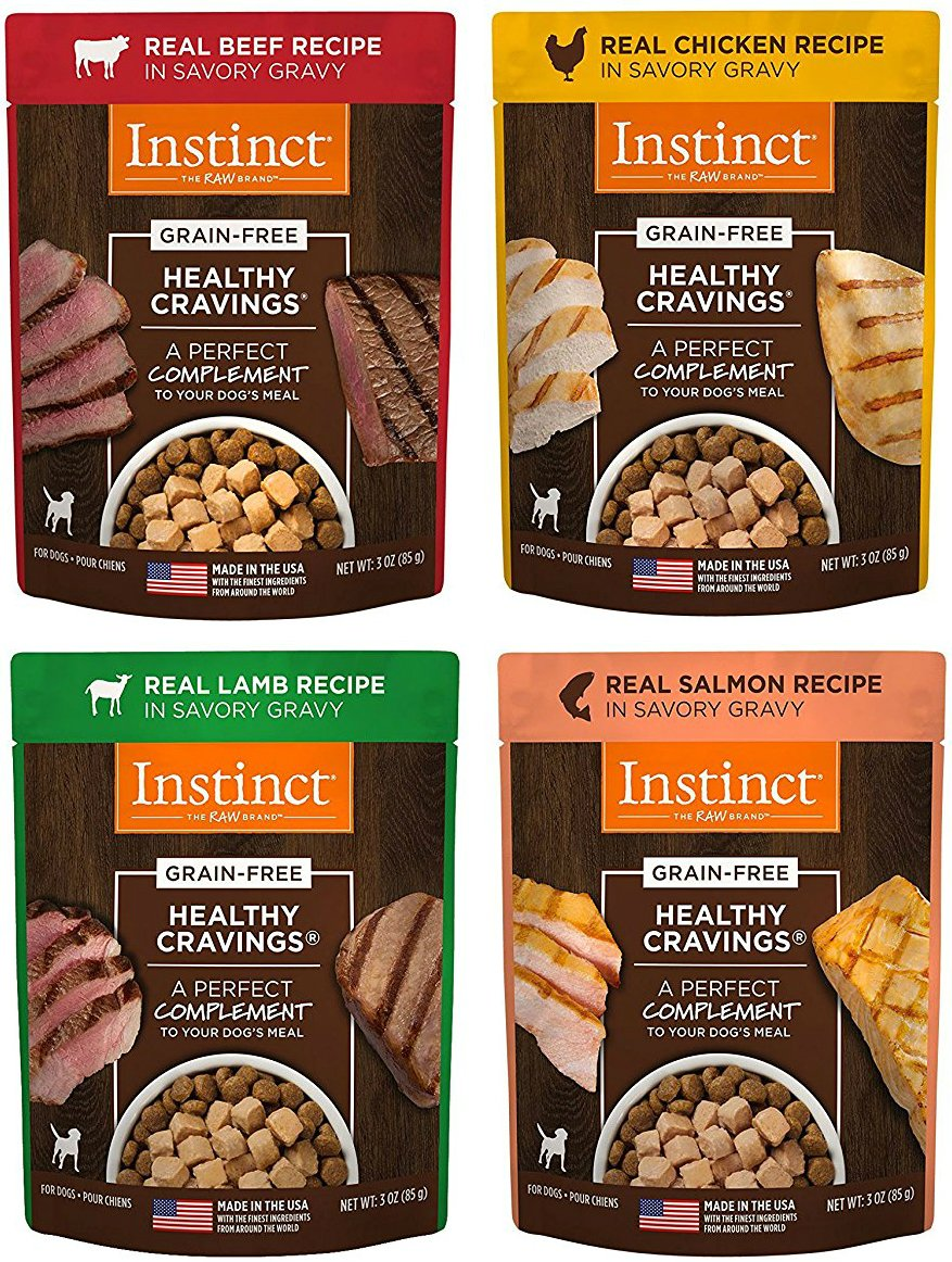 Nature's Variety Instinct Healthy Cravings Grain-Free Meal Topper for Dogs Variety Pack, 4 Flavors (Chicken, Beef, Salmon & Lamb), 3 oz Pouch, 12 Total Pouches