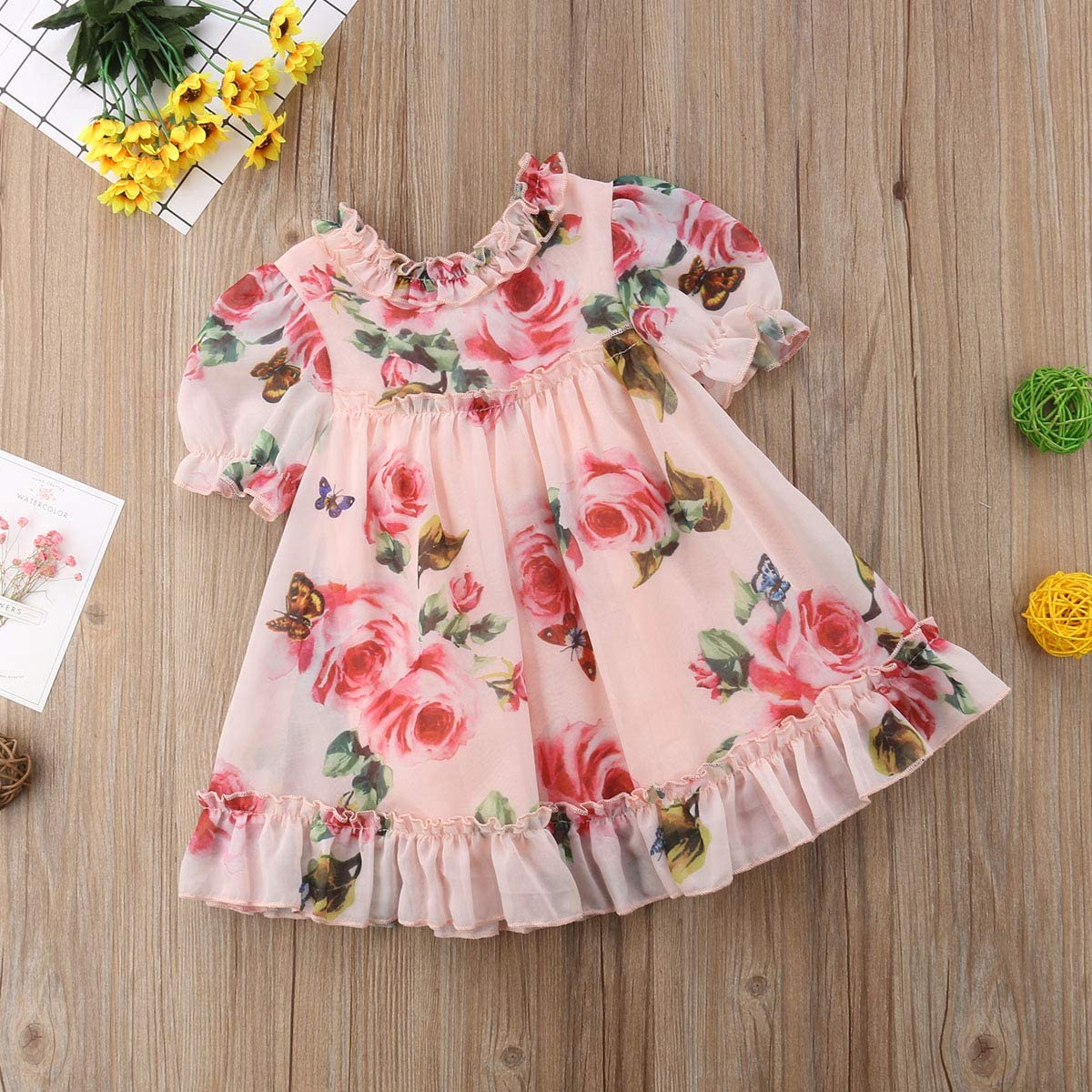 ZAXARRA Newborn Baby Girls Floral Dress Princess Party Pageant Tulle Ruffle Sundress