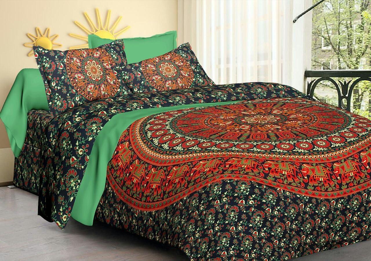 Indian Queen Size Bedding Set Tapestry Hippie Bohemian Mandala Bed Sheet Throw