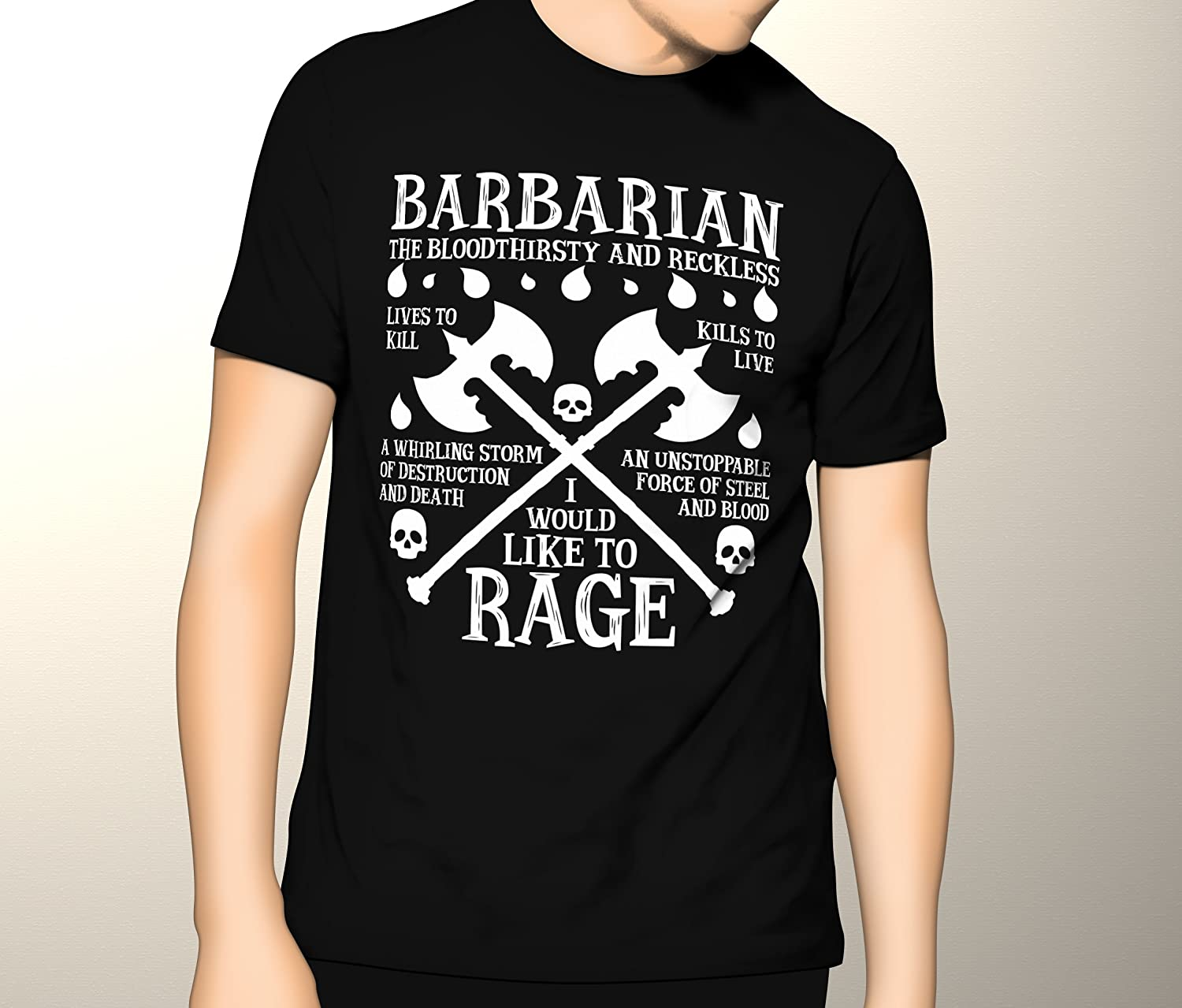 Dungeons and Dragons, DND, Barbarian, Bloodthirsty, Premium Men's Graphic T-shirt